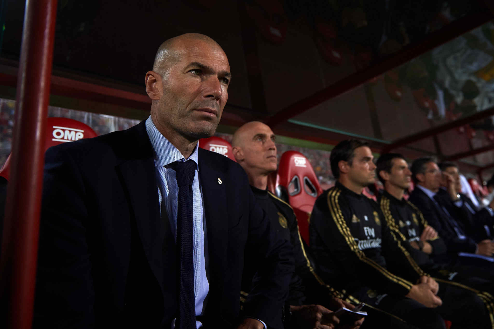 MALLORCA, SPAIN - OCTOBER 19: Head Coach Zinedine <HIT>Zidane</HIT> of Real Madrid CF looks on before the La Liga match between RCD Mallorca and Real Madrid CF at Iberostar Estadi on October 19, 2019 in Mallorca, Spain. (Photo by Alex Caparros/Getty Images)