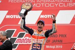 Motegi (Japan).- Spanish MotoGP rider Marc <HIT>Marquez</HIT> of Repsol Honda Team celebrates with the trophy after winning the Moto GP Japanese Grand Prix at Twin Ring Motegi in Motegi, Tochigi Prefecture, north of Tokyo, 20 October 2019. (Motociclismo, Ciclismo, Japón, Tokio) EPA/