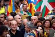 Andoni Ortuzar y Joseba Egibar (PNV) durante la manifestación.