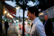 Liberal leader and Canadian Prime Minister Justin <HIT>Trudeau</HIT> campaigns for the upcoming election, in West Vancouver, British Columbia