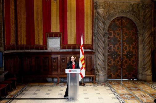 La alcaldesa de Barcelona, Ada Colau, en una comparecencia, este...