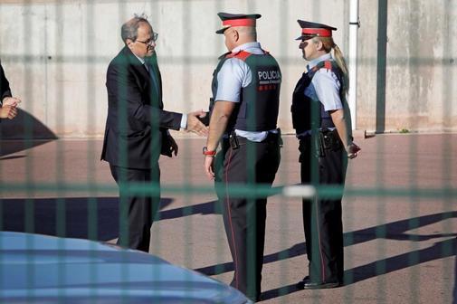 El presidente catalán, Quim Torra, a su llegada a la cárcel de...
