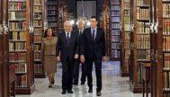 El presidente del Gobierno visitando la sede de la Real Academia de la Lengua.