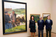 Braulio Medel y otras autoridades durante la inauguración de la exposición.