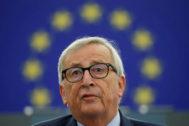El presidente de la Comisión, Jean-Claude Juncker, en su discurso de despedida.