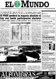 Aquel día salía a la calle un proyecto periodístico que en pocos años se estudiaría en las escuelas de negocios como ejemplo de éxito. Una encuesta electoral y foto de Fórmula 1, en portada.