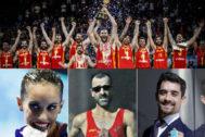 La selección de baloncesto, Ona Carbonell, García Bragado y Javier Fernández.