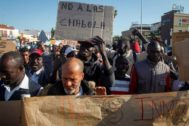 Manifestación de inmigrantes celebrada este martes en Lepe.