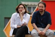 Ada Colau y Pablo Iglesias en un mitin de Unidas Podemos para las elecciones del 26-M.