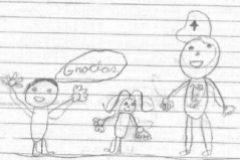 El dibujo de la carta de los dos niños al policía herido en Barcelona.