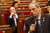 Miquel Iceta y Quim Torra, en el Parlament este miércoles.