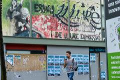 Carteles y pintadas contra la sentencia del 1-O en la Universidad Autónoma de Barcelona.