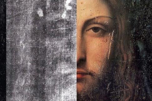 Imágenes superpuestas del 'Síndone de Turín' y del cuadro Salvator Mundi.