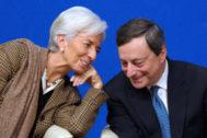 Christine Lagarde, próxima presidenta del BCE, con Mario Draghi, su antecesor.