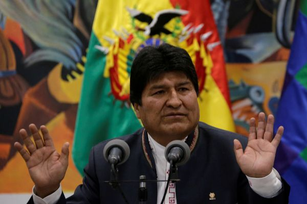 Bolivia&apos;s President <HIT>Evo</HIT> <HIT>Morales</HIT> speaks during a...