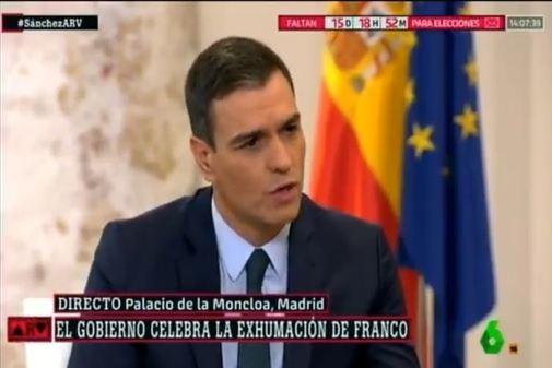 Pedro Sánchez, en un momento de la entrevista en La Sexta.