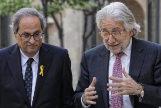 El presidente de la Generalitat de Cataluña, Quim Torra, junto al presidente del la patronal catalana Josep Sánchez LLibre.