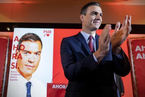 Pedro Sánchez, en la presentación del lema de la campaña del PSOE...