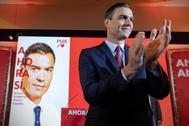 Pedro Sánchez, en la presentación del lema de la campaña del PSOE para el 10-N.