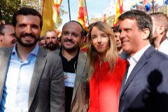 Pablo Casado, Alejandro Fernández, Cayetana Álvarez de Toledo y Manuel Valls, en Barcelona.