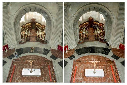 Imágenes del antes (izqda.) y el después (dcha.) del lugar donde se...