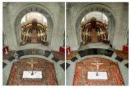 Imágenes del antes (izqda.) y el después (dcha.) del lugar donde se encontraba la tumba de Francisco Franco.