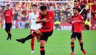 Abdón dispara en un momento del Mallorca-Osasuna de la pasada temporada en Son Moix.