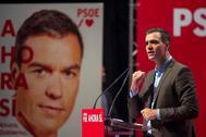 El presidente del Gobierno en funciones, Pedro Sánchez, en un acto del PSOE celebrado en Santander este martes.