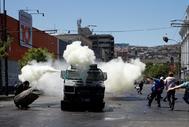 Imagen de una de las protestas celebradas hoy en Valparaíso.
