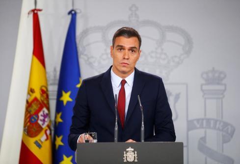 El presidente del Gobierno en funciones, Pedro Sánchez, en una rueda de prensa en La Moncloa.