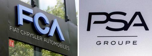 Los logotipos de los fabricantes automovilísticos PSA Group y Fiat...