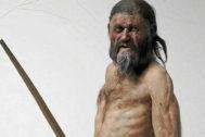 Recreción artística de Ötzi, el hombre del hielo.
