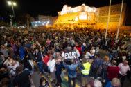 Manifestantes en Cartagena (Murcia), anoche