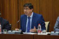 El vicepresidente de la Junta, Juan Marín, este jueves ante la comisión de Justicia del Parlamento.