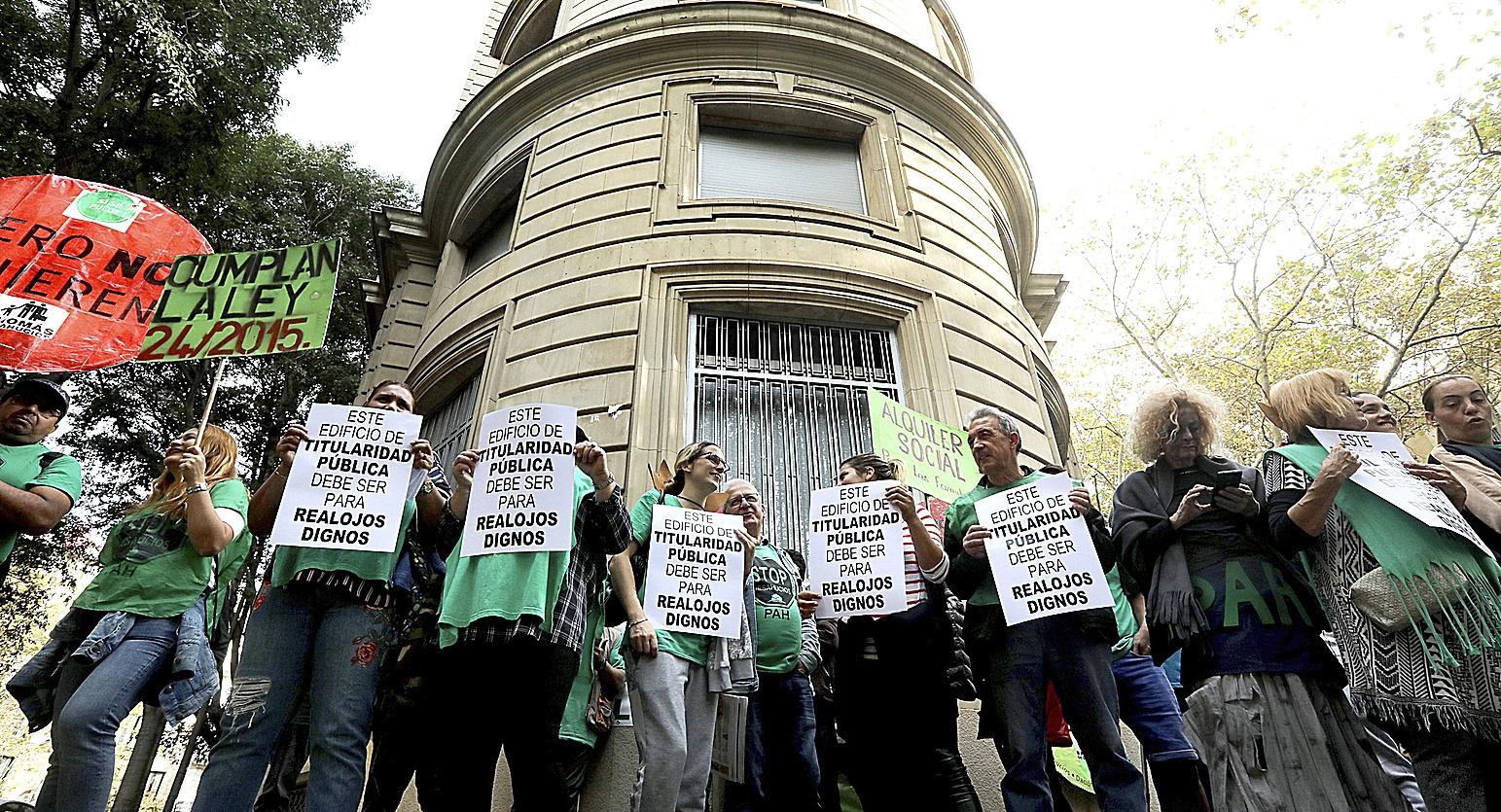 Protesta de la PAH este jueves en Barcelona.