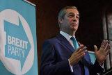 El líder del Partido del Brexit, Nigel Farage, presenta su campaña en Londres.