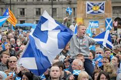 Manifestación a favor de la independencia de Escocia en Glosgow.