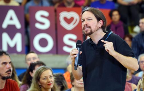 El candidato de Unidas Podemos, Pablo Iglesias, en un mitin en Las...