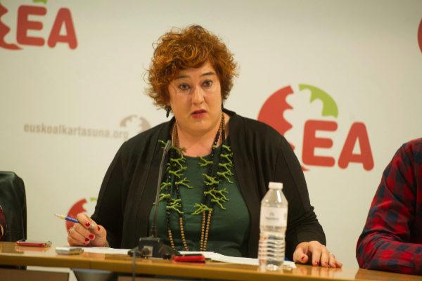 Eba Blanco en su comparencencia tras ser proclamada secretaria general de EA