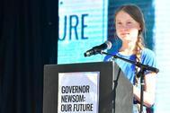La activista adolescente sueca Greta Thunberg en un mitin de acción climática en Los Ángeles, California, EEUU.