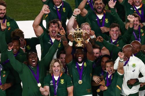 Los jugadores sudafricanos celebran la victoria en el Mundial