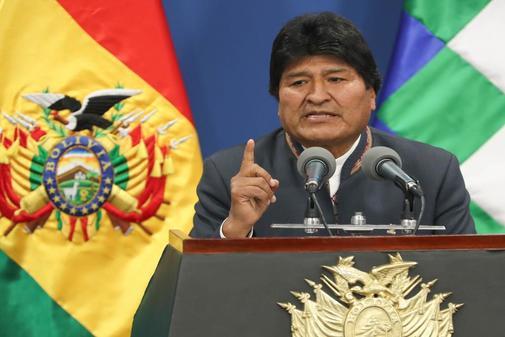 El presidente de Bolivia, Evo Morales, habla este jueves durante una...