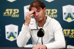 Paris (France).- Rafael <HIT>Nadal</HIT> of Spain holds a press conference to announce that he is forfeiting his semi final match against Denis Shapovalov of Canada due to injury at the Rolex Paris Masters tennis tournament in Paris, France, 02 November 2019. (Tenis, Francia, España) EPA/
