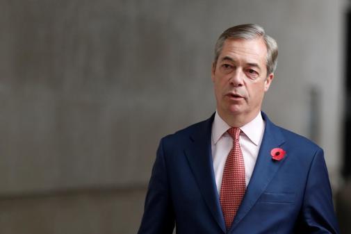El líder del Partido Brexit Nigel Farage. a su llegada a la BBC, en...