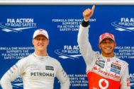 Michael Schumacher y Lewis Hamilton, en el GP de Malasia 2012.