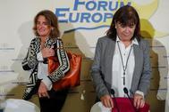 Cristina Narbona, presidenta del PSOE, junto a la ministra para la Transición Ecológica, Teresa Ribera.
