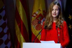 La Princesa Leonor, en un momento de su intervención en Barcelona.