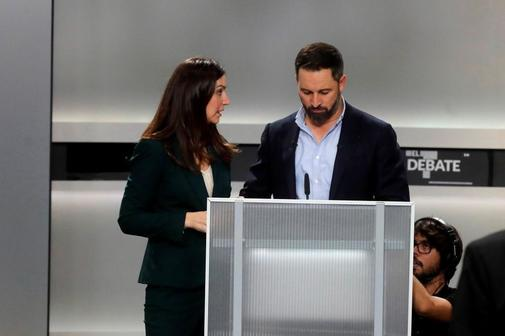 El candidato de Vox, Santiago Abascal, este lunes, en un momento del...
