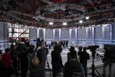 Representantes de los partidos visitan, el pasado sábado, el plató donde se ha celebrado el debate del 10-N.