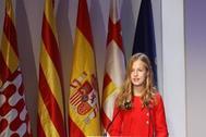 La Princesa Leonor, el lunes en Barcelona, durante la entrega de los Premios de la Fundación Princesa de Girona.